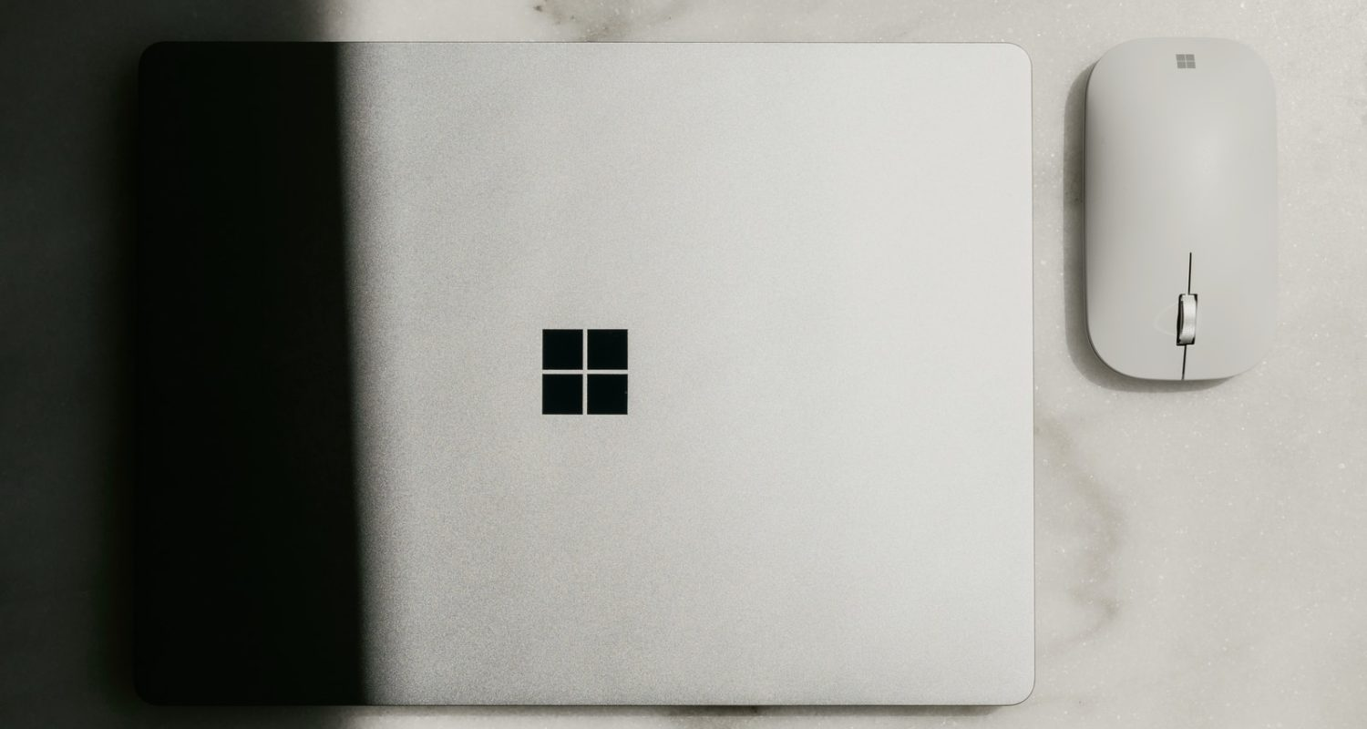 Surface laptop on white table